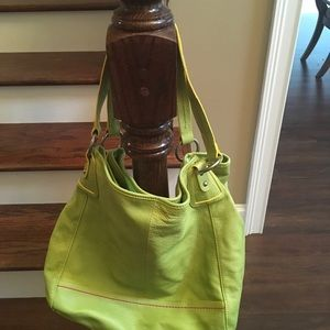 Lime green leather purse; two straps